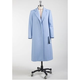 Women's Blue Classic Notched Lapel Wool Coat - Size 4 (size M)