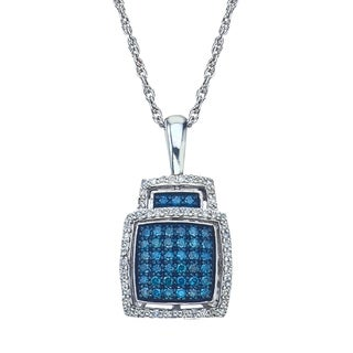Blue Diamond Pendant In Sterling Silver 0 50 Carats