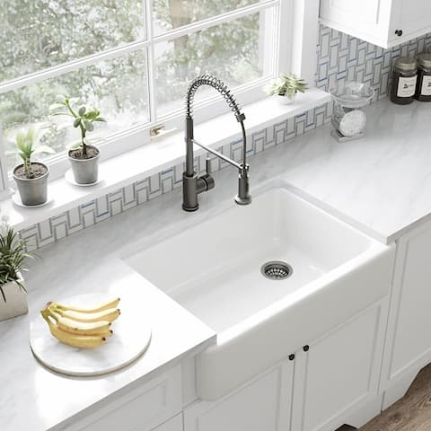 K-5827-0 Enameled Cast Iron Farmhouse/Apron Kitchen Sink