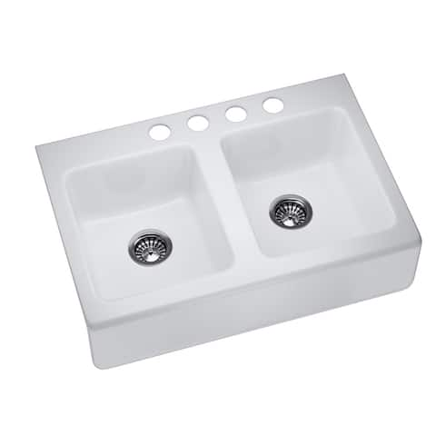 "K-6534-4U-0 Enameled Cast Iron 33"" L x 22-1/8"" W Farmhouse/Apron Kitchen Sink"