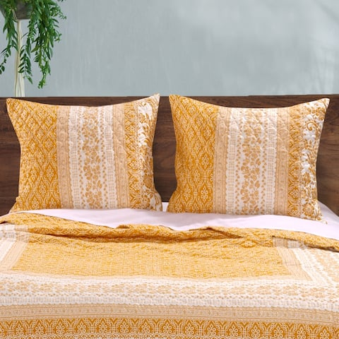 Barefoot Bungalow Mykonos Gold Pillow Sham Set (Set of 2 Shams)