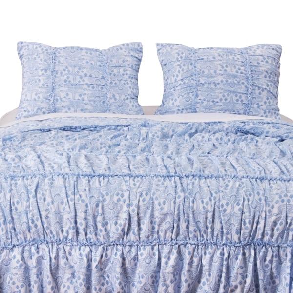 Greenland Home Fashions Helena Ruffle Blue Pillow Sham Set (Set of 2)