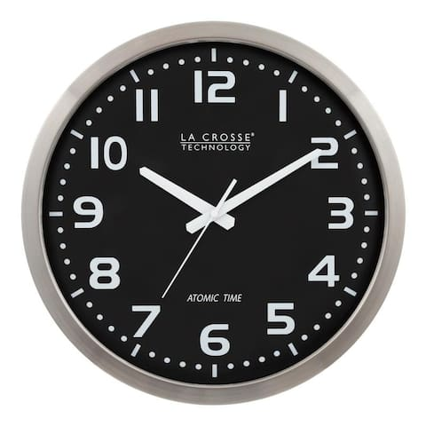 La Crosse Technology WT-3161BK 16-In. Aluminum Atomic Black dial Clock