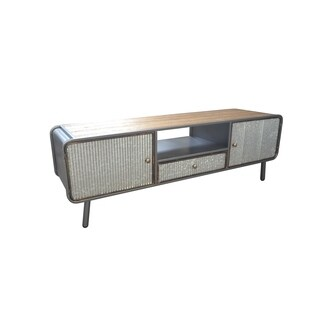 Emerald Home Laurell Hill Industrial Media Console, Patina Gray