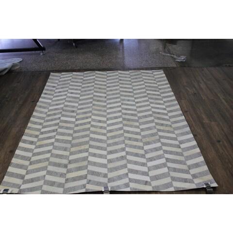 "Silver Patchwork Cowhide Rug - 7'6"" x 9'6"""