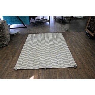"Silver Patchwork Cowhide Rug - 7'6"" x 9'6"""