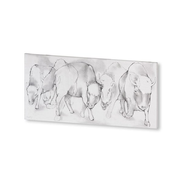 Mercana Bison Charge (44 X 22) Made to Order Canvas Art