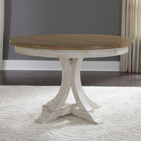 Farmhouse Reimagined Antique White 5-piece Ped Table Set