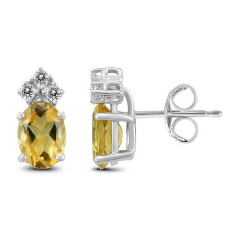14K White Gold 7x5MM Oval Citrine and Diamond Earrings