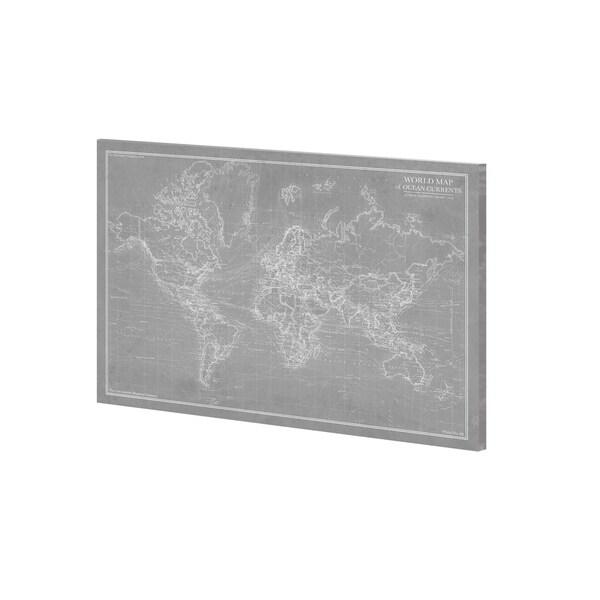 Mercana Explorer - World Map - Graphite (36 x 27) Made to Order Canvas Art
