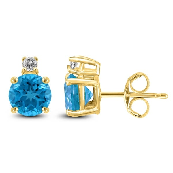 14k Yellow Gold 7mm Round Blue Topaz And Diamond Earrings On Free Shipping Today 25770634
