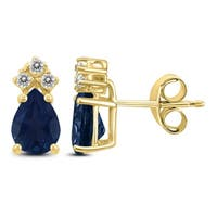 14K Yellow Gold 5x3MM Pear Sapphire and Diamond Earrings