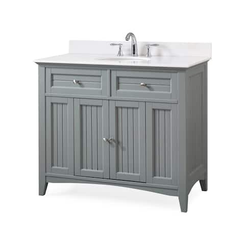 "42"" Benton Collection Thomasville Gray Cottage Style Bathroom Vanity"