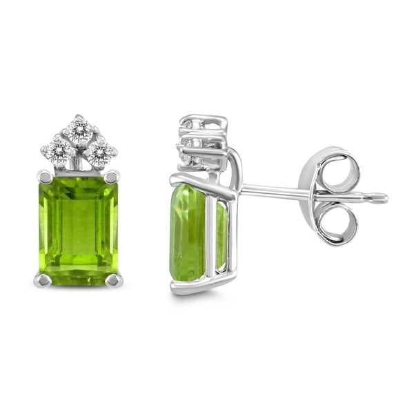 14k White Gold 6x4mm Emerald Shaped Peridot And Diamond Earrings On Free Shipping Today 25770850