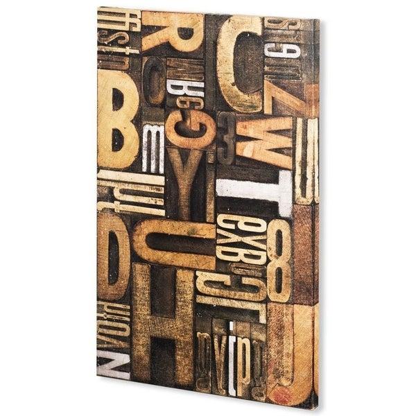 Mercana Silver Letterpress B (44 x 66) Made to Order Canvas Art