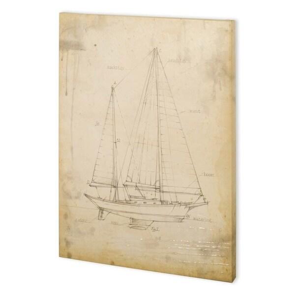 Mercana Sailboat Blueprint VI (44 x 58) Made to Order Canvas Art