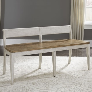 Link to Farmhouse Reimagined Antique White Bench Similar Items in Kitchen & Dining Room Chairs
