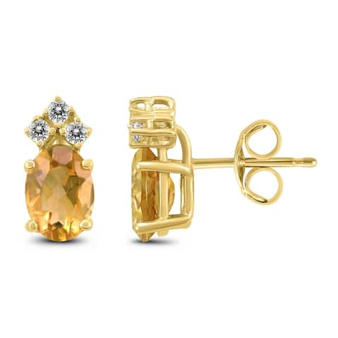 14K Yellow Gold 7x5MM Oval Citrine and Diamond Earrings