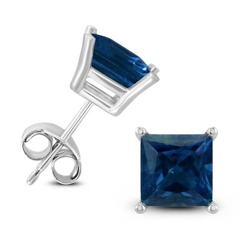 14K White Gold 5MM Square Sapphire Earrings