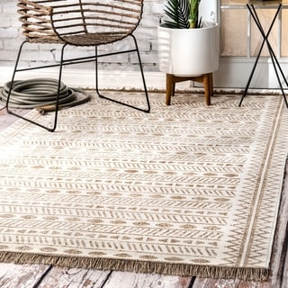 The Curated Nomad Frida Bohemian Geometric Moroccan Aztec Linear Tassels Indoor/ Outdoor Area Rug