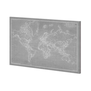 Mercana Explorer - World Map - Graphite (52 x 39) Made to Order Canvas Art