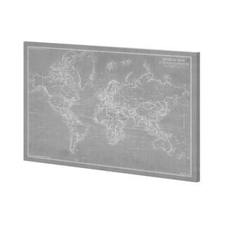 Mercana Explorer - World Map - Graphite (52 x 39) Made to Order Canvas Art