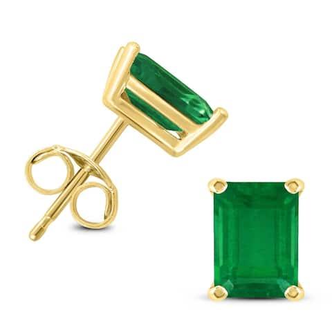 14K Yellow Gold 6x4MM Emerald Shaped Emerald Earrings