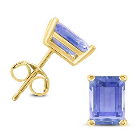 14K Yellow Gold 5x3MM Emerald Shaped Tanzanite Earrings