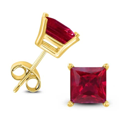 14K Yellow Gold 5MM Square Ruby Earrings