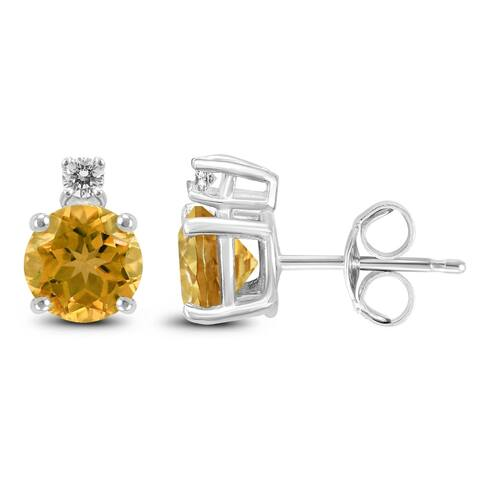 14K White Gold 6MM Round Citrine and Diamond Earrings