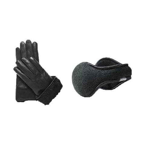 Mens leather gloves and 180s ear muffs mens behind the head Fleece Degrees ear warmer mens set