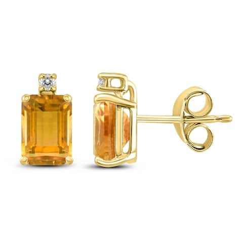 14K Yellow Gold 6x4MM Emerald Shaped Citrine and Diamond Earrings