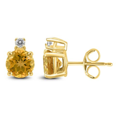 14K Yellow Gold 5MM Round Citrine and Diamond Earrings