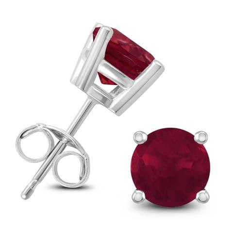 14K White Gold 5MM Round Ruby Earrings