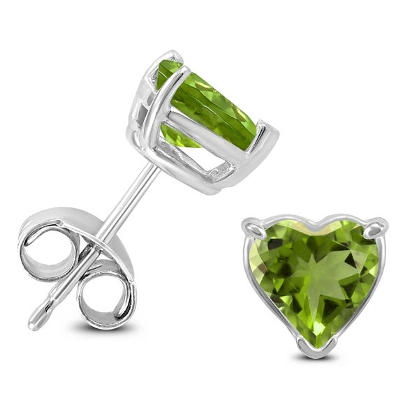 14k White Gold 5mm Heart Peridot Earrings