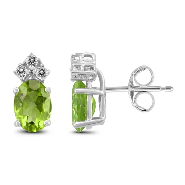 14k White Gold 7x5mm Oval Peridot And Diamond Earrings On Free Shipping Today 25771677
