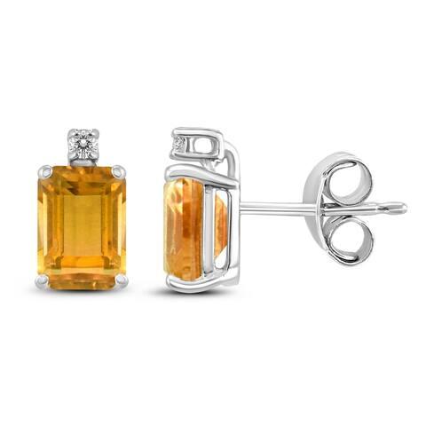 14K White Gold 6x4MM Emerald Shaped Citrine and Diamond Earrings