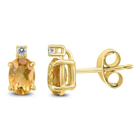 14K Yellow Gold 8x6MM Oval Citrine and Diamond Earrings