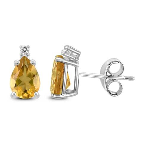 14K White Gold 7x5MM Pear Citrine and Diamond Earrings