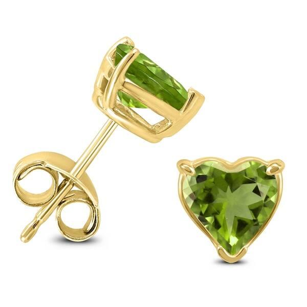 14k Yellow Gold 6mm Heart Peridot Earrings