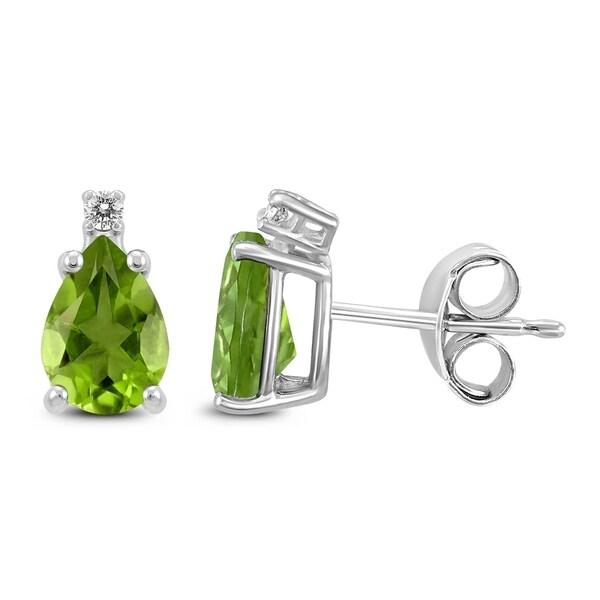 14k White Gold 8x6mm Pear Peridot And Diamond Earrings