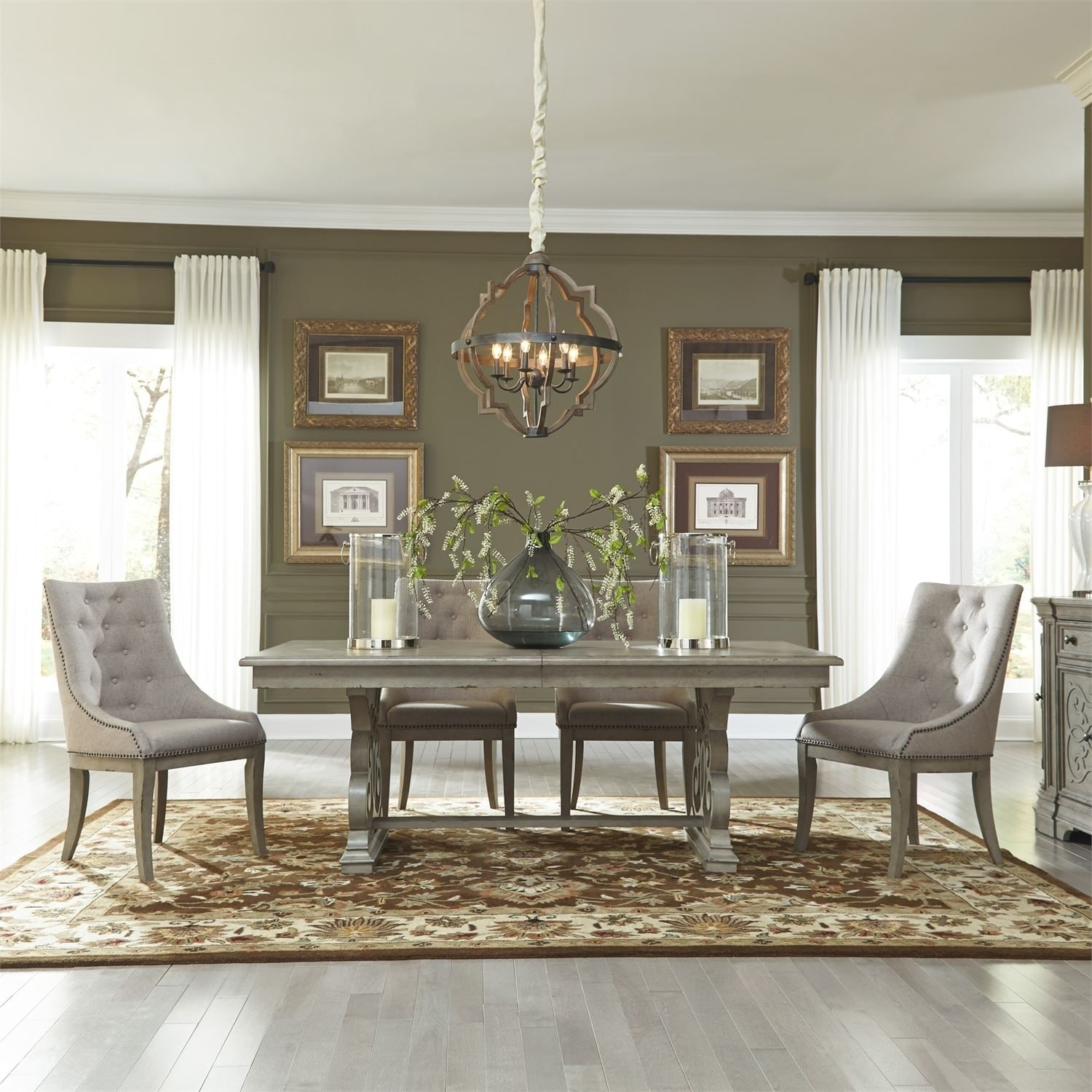 Grand Estates Grey Taupe and Antique Brown 5-piece Trestle Table Set