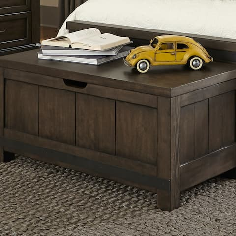 Thornwood Hills Rock Beaten Grey with Saw Cuts Toy Chest Bench