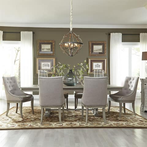 Grand Estates Grey Taupe and Antique Brown 7-piece Trestle Table Set