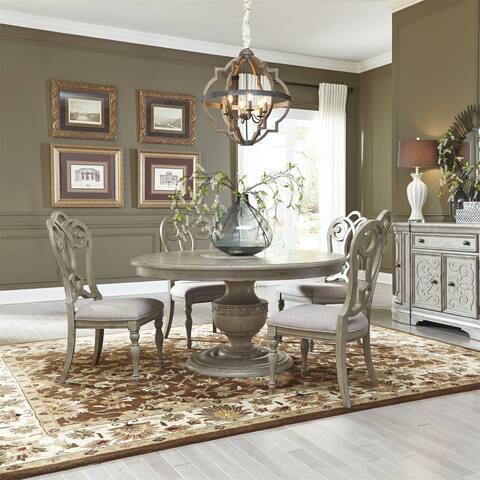 Liberty Grand Estates Grey Taupe and Antique Brown 5-piece Pedestal Table Set
