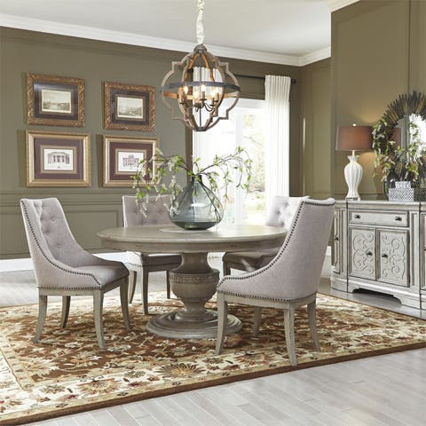 Grand Estates Grey Taupe and Antique Brown 5-piece Pedestal Table Set