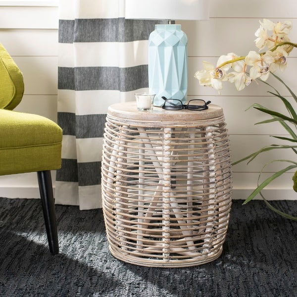 Shop Safavieh Maui Rattan White Washed Drum Stool Accent