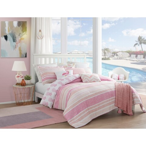 Caribbean Joe Pineapple Girl 4 Piece Pink and White Reversible Comforter Set