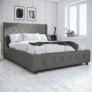 CosmoLiving by Cosmopolitan Mercer Light Grey Linen Upholstered Bed