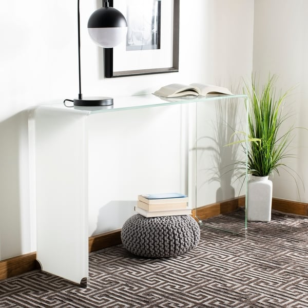"""Safavieh Crysta Ombre Glass Console Table - Clear / White - 43.3"""" x 13.8"""" x 29.5"""""""